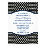 Invitación elegante azul de la graduación de Quatr