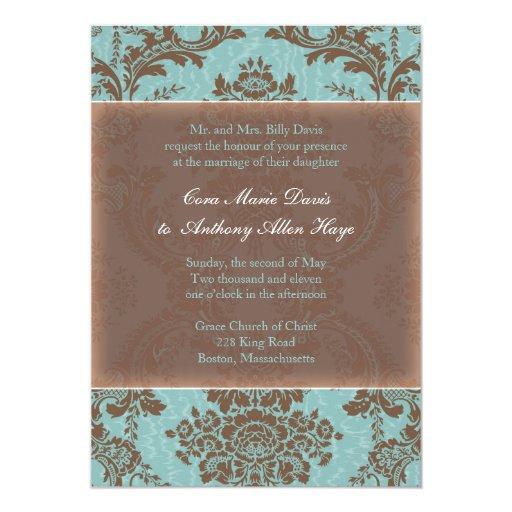 Invitación elegante azul del boda del damasco