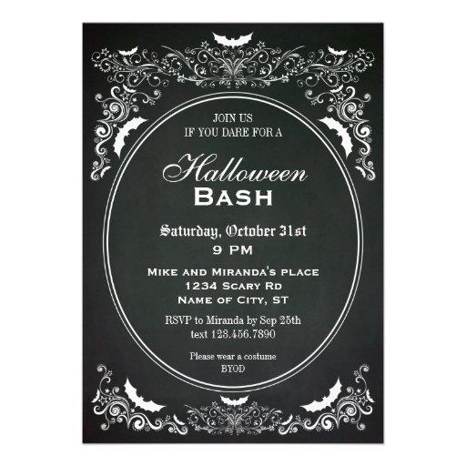 Invitación elegante de Halloween de la pizarra