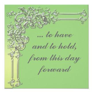 Invitación elegante de la bodas de plata verde y invitación 13,3 cm x 13,3cm