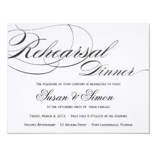 Invitación elegante de la cena del ensayo de la