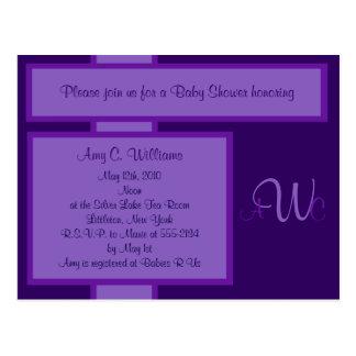 Invitación elegante de la ducha del monograma del tarjetas postales
