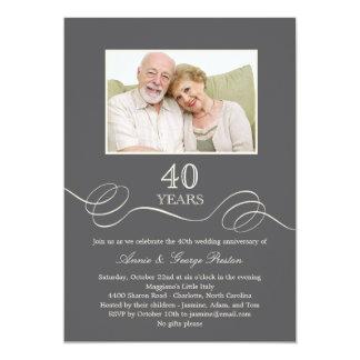 Invitación elegante de la foto del aniversario del
