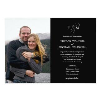 Invitación elegante de la foto del boda del signo