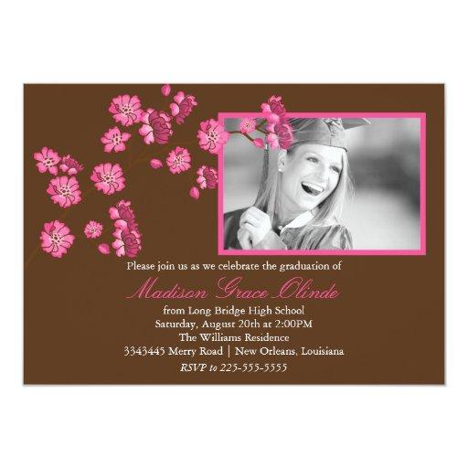 Invitación elegante de la graduación de la flor de invitación 12,7 x 17,8 cm
