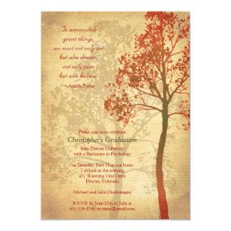 Invitación elegante de la graduación del árbol