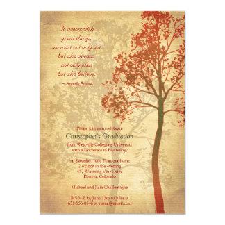 Invitación elegante de la graduación del árbol del invitación 12,7 x 17,8 cm