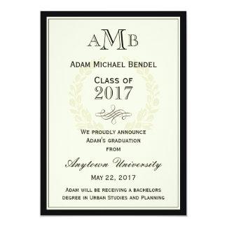 Invitación elegante de la graduación del monograma