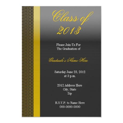 Invitación elegante de la graduación del negro y