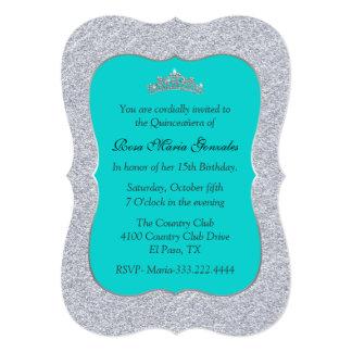 Invitación elegante de Quinceañera de la turquesa