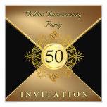 Invitación elegante del aniversario del lazo negro invitación 13,3 cm x 13,3cm