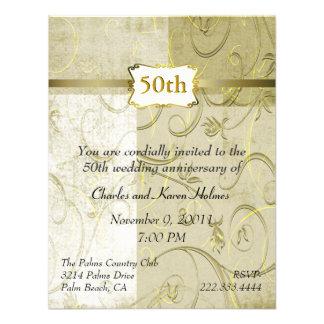 Invitación elegante del aniversario del oro