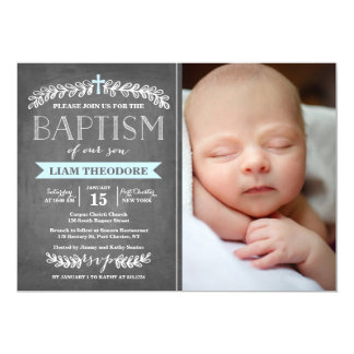 Invitación elegante del bautismo del azul el   de