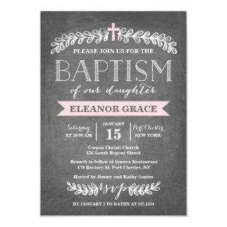 Invitación elegante del bautismo del rosa el | de