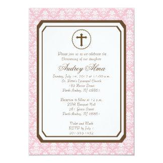 Invitación elegante del bautizo del chica - rosa