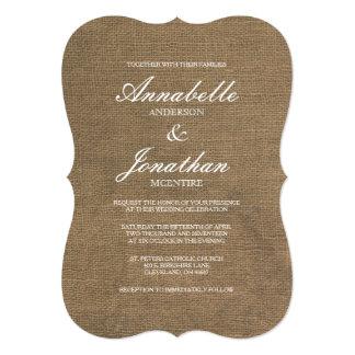 Invitación elegante del boda de la arpillera de la