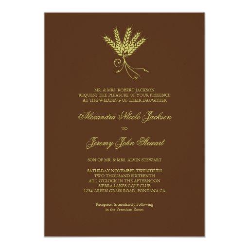 Invitación elegante del boda de la caída del trigo