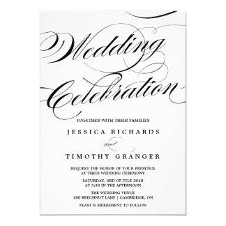 Invitación elegante del boda de la escritura de la