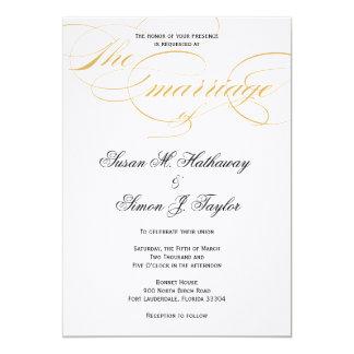 Invitación elegante del boda de la escritura - oro