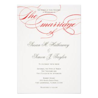 Invitación elegante del boda de la escritura - roj