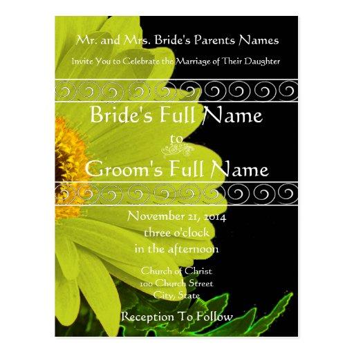 Invitación elegante del boda de la margarita de tarjetas postales