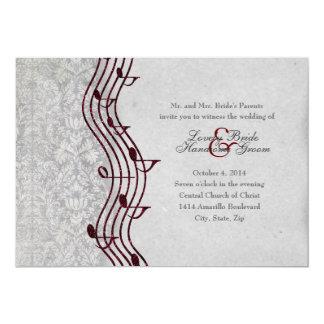 Invitación elegante del boda de la música roja
