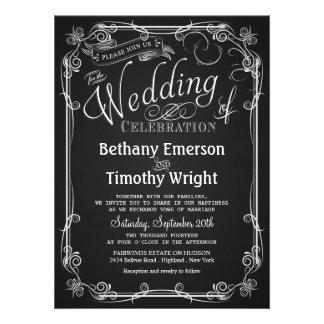 Invitación elegante del boda de la pizarra
