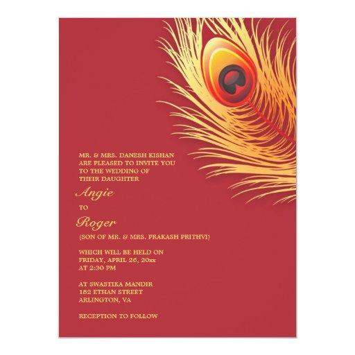 Invitación elegante del boda de la pluma del pavo