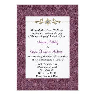 Invitación elegante del boda de la púrpura y del