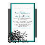 Invitación elegante del boda de la turquesa