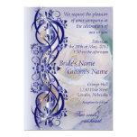 Invitación elegante del boda de la voluta - azul invitación 12,7 x 17,8 cm