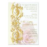 Invitación elegante del boda de la voluta - oro y