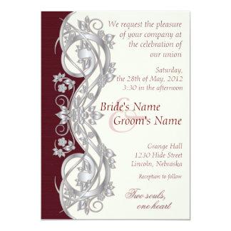 Invitación elegante del boda de la voluta - plata