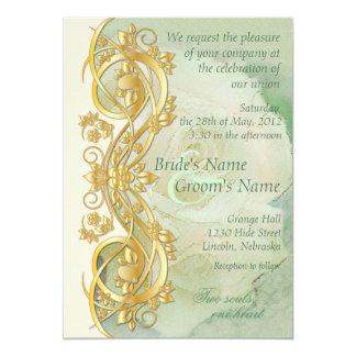 Invitación elegante del boda de la voluta - verde