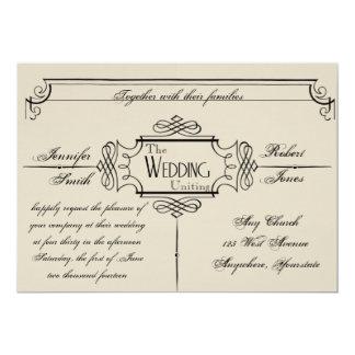 Invitación elegante del boda de Nouveau del arte