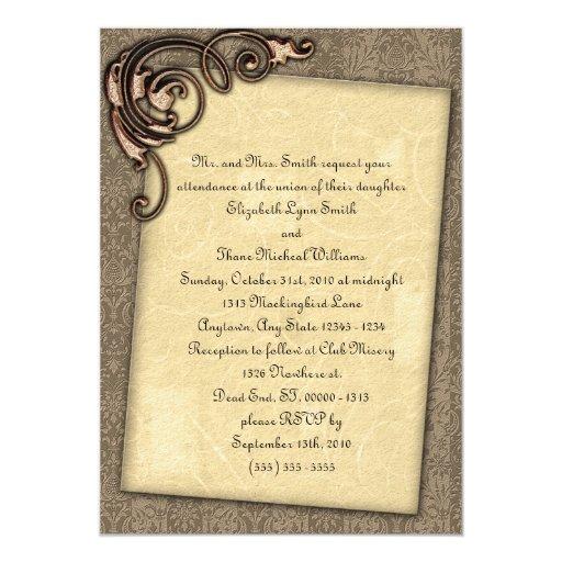 Invitación elegante del boda de Steampunk de la Invitación 12,7 X 17,8 Cm