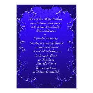 Invitación elegante del boda del azul real