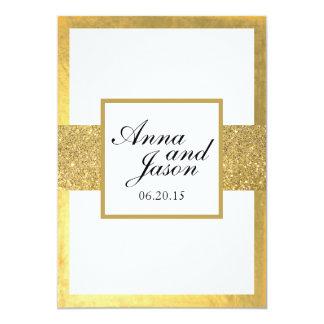 Invitación elegante del boda del brillo del oro