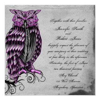 Invitación elegante del boda del búho gótico