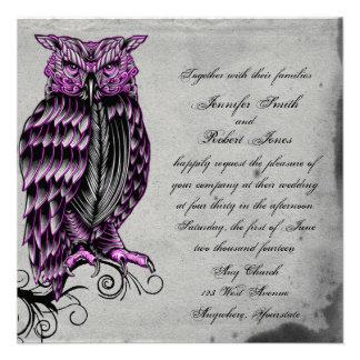 Invitación elegante del boda del búho gótico púrpu