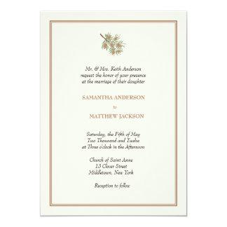 Invitación elegante del boda del cono del pino