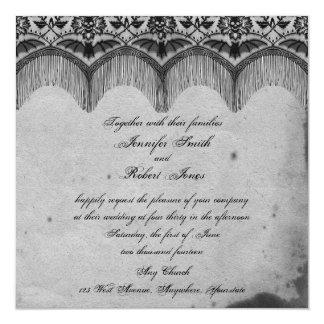 Invitación elegante del boda del cordón gótico