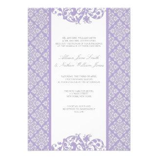 Invitación elegante del boda del damasco de la lav