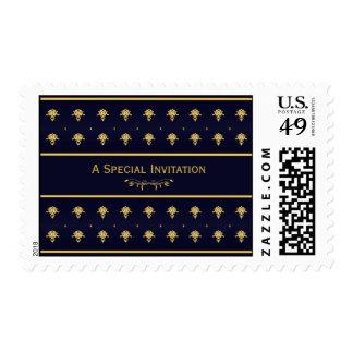 Invitación elegante del boda del damasco del azul sello