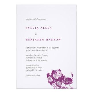 Invitación elegante del boda del jardín gris púrpu