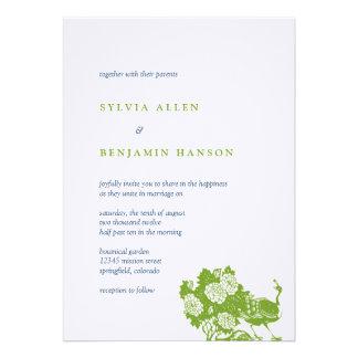 Invitación elegante del boda del jardín verde del