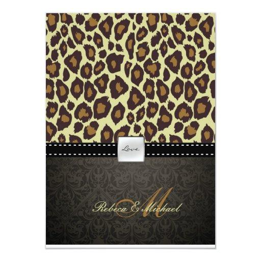 Invitación elegante del boda del leopardo del