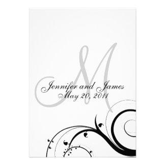 Invitación elegante del boda del monograma del rem