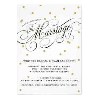 Invitación elegante del boda del oro del punto