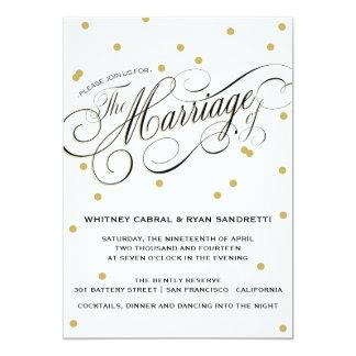 Invitación elegante del boda del oro del punto invitación 12,7 x 17,8 cm